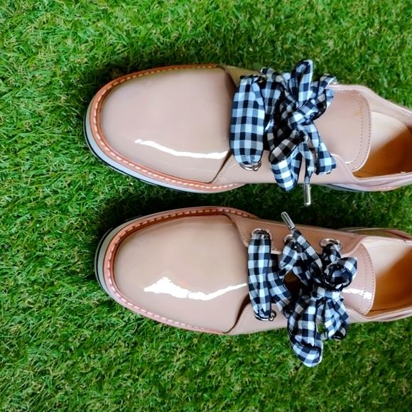Zara Faux Patent Leather Derby Platform Oxfords Gi